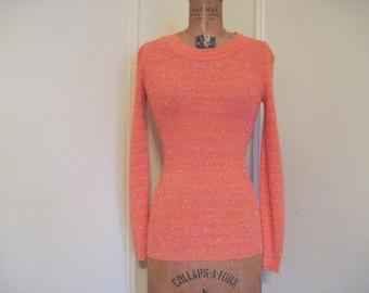 1970s Tight & Fitted Orange and Metallic Striped Sweater - vintage size small to medium