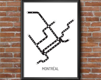Subway map Montreal - Urban Wall digital art, deco