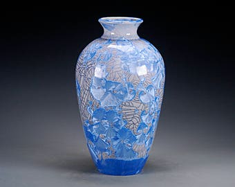 Porcelain Vase - Crystalline Glaze - Blue, Grey -  Hand Made Ceramics - FREE SHIPPING - #A-5409