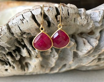 Ruby Earrings, Ruby Earrings Gold, Gold Ruby Earrings, Ruby Tear Drop Earrings, Ruby Drop Earrings, Ruby Dangle, Summer Fashion Gift for Her