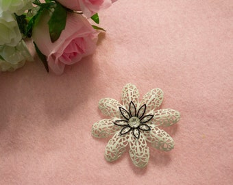 1950s Black and White Flower Brooch with diamond center