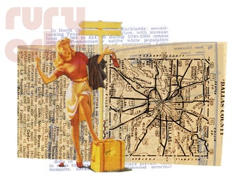 Dallas 1952: Travel Gal - Giclée Print from Digital Collage