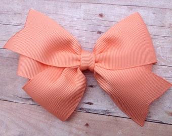 4 inch peach hair bow - peach bow, light orange bow, girls hair bows, girls bows, toddler bows, pinwheel bows, girls bows, peach bows