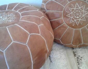 Set of 2 Leather poufs, ottoman luxury light tan floor poufs, moroccan home decor