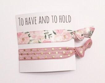 Bridesmaid hair tie favor//mauve gold dot & romantic rose//hair tie card//hair tie favor//wedding//