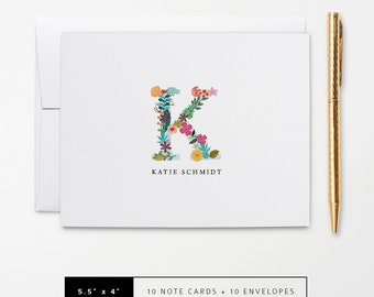 Flat or Folded Note Cards // Set of 10 //  Floral Monogram Initial with Name // Personalized Stationery // S103
