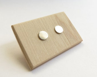 Graphic Sterling Silver Minimalist Circle Silhouette Studs. Silver Circle studs. Small silver dot studs.