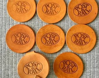 Tan Leather Post & Rail Set of 7 Coasters with Holder Drinkware