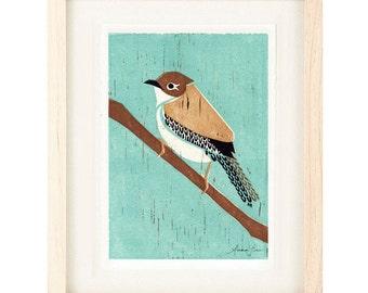 HOUSE WREN Linocut Reproduction Art Print: 4 x 6, 5 x 7