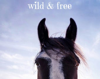 All Good Things are Wild and Free PRINT - quote, fine art home decor, home wall, inspirational typography, horse equine bedroom, large photo