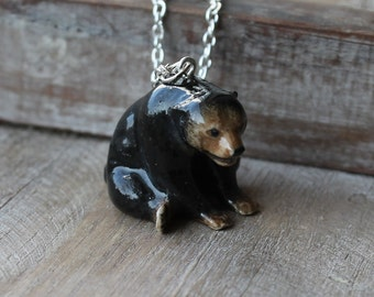 Bear hand painted ceramic personalized necklace
