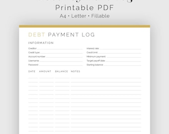 Debt Payment Log - Fillable - Printable PDF - Finance Planner - Home Management - Business Planner - Instant Download