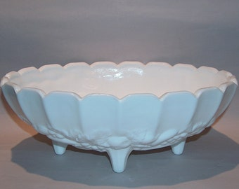 "8562: Indiana Glass White Milk Glass 12"" Harvest Grape Vintage Centerpiece Fruit Footed Bowl at Vintageway Furniture"