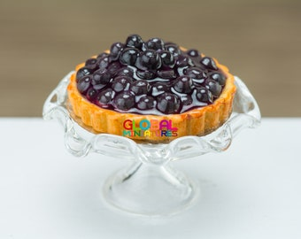 Dollhouse Miniatures Blueberry in Syrup Fruit Tart on Clear Scallop Edge Glass Bakery Stand - 1:12 Scale