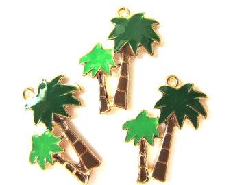 4 Pieces Tropical Palm Tree Charm Pendant