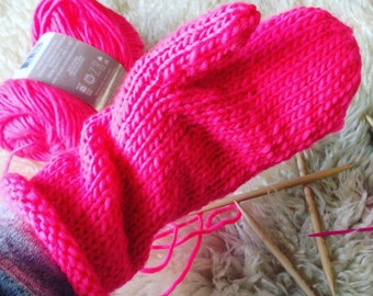 Extra Long Hot Pink Mittens
