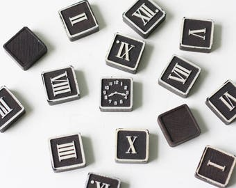 Vintage Clock Blocks, Roman Numerals, Time Puzzle, The Embossing Company