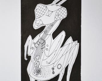 drawing black and white ink mantis religious imaginary insect cabinet curiosities