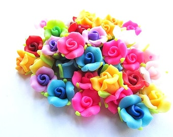20pcs Mixed  Fimo Polymer Clay Flowers 12 x 10 mm Rose Beads Polymer Clay Beads Rose Flower Craft Supplies Jewelry making
