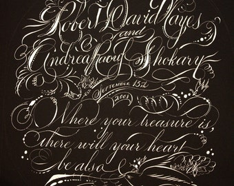 Custom Calligraphy Vows weddings marriage proposal gift love letter