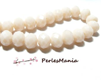 10 pearls ivory 10 by 8 color 14 mm pink faceted glass Rondelles