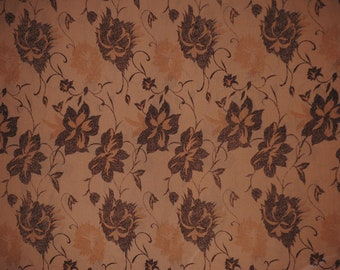 Silk Charmeuse Floral in Camel and Brown, 1 yd