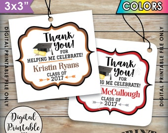 "Graduation Tags, Graduation Party Favors Thank You Tags, Grad Tags, Graduation Party Favors, Class Of, Printable 3x3"" Tags on 8.5x11"" Sheet"