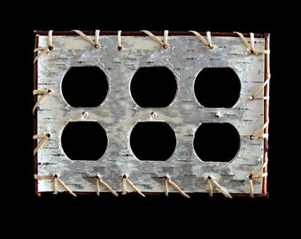 Handsewn real birch bark Triple outlet/duplex cover