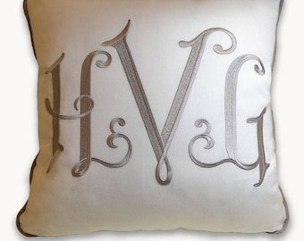 embroidery custom monogram wedding pillow sunbrella linen bridal shower padrino madrina de cojines