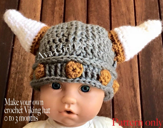 Baby Viking Helmet Crochet Pattern Crochet Pattern Viking Helmet