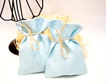 Natural Linen light blue favor bags Wedding favor bags Linen gift bags Baby shower bags Blue linen bags Small linen bags Party supplies
