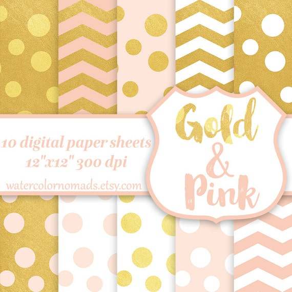 Digital Paper Gold Pink Chevron Dots White Scrapbook Pattern Background From