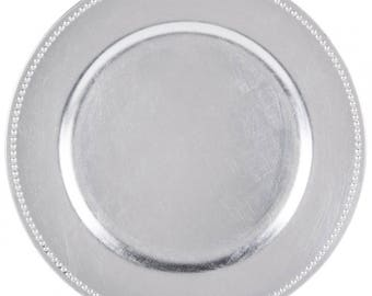 """24 PACK - 13"""" Round Metallic BRUSHED SILVER - Beaded Border Round Plate Chargers for Dinners, Weddings, Table Setting, Events, Decoration."""
