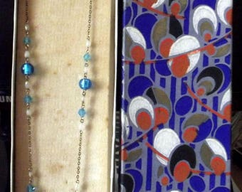 Vintage Nuest Blue and White Necklace with Handprinted Box