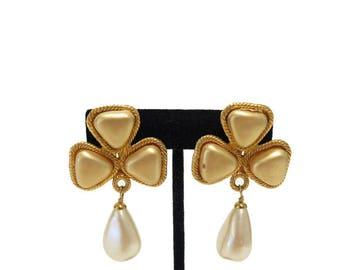 VINTAGE CHANEL Earrings Faux Pearl Dangle Drop Clip-On Earrings