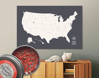 Push Pin USA Map (Charcoal) Travel Map Push Pin Map Travel Gift Road Trip Map of the USA on Canvas Personalized Gift For Family Name Sign