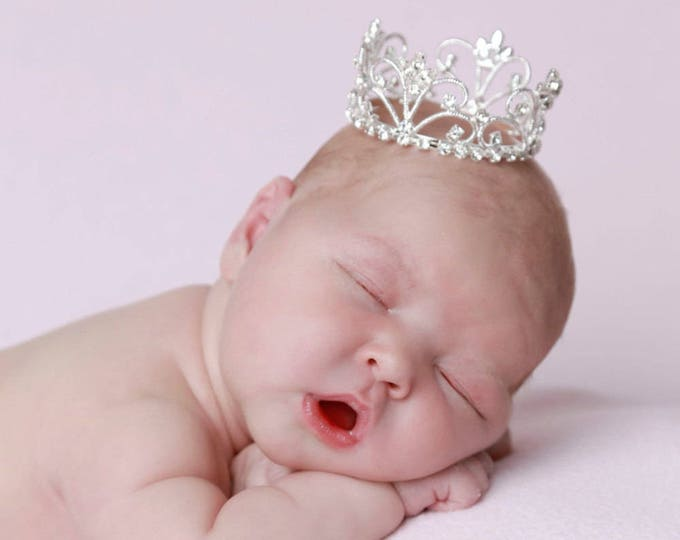 Silver Vintage Baby Crown, newborn, maternity, baby crown, tiara, Austrian Crystals, ready to ship, bebe by Lil Miss Sweet Pea
