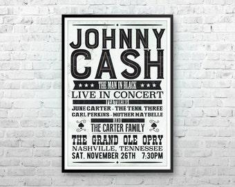 Johnny Cash Art Pop Print Poster Country