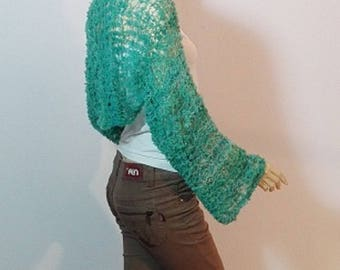 Bolero in green-blue made of hand woven Boucle wool