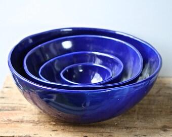 Blue nesting bowls set, handmade, salad bowls satin white glaze organic rustic