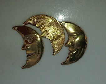 3 Gold Moon Charms