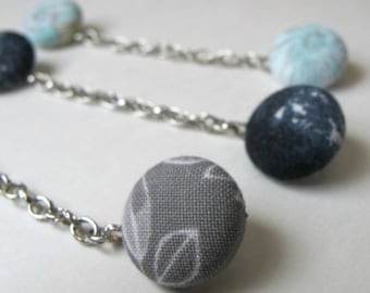 PIN collar shirt fabric recycled fabric button necklace chain