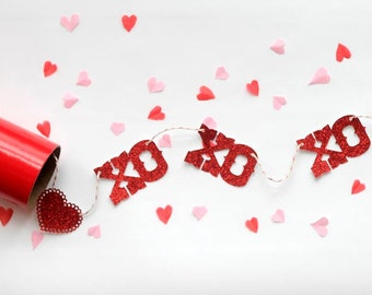 mini valentine glitter banner valentine card xo xo xo with hearts - Valentines Day Decor