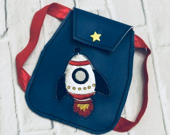 "Custom American Made Girl Doll Backpack, Spaceship Custom Bag,  Rocket Astronaut Birthday Gift Party Favor Idea, 18"" Space Ship Doll bag"