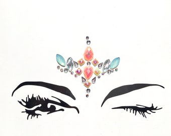 Pastel Festival face jewels, gems, all in one, body bindi stickers, stick on rhinestones, adhesive makeup, glitter, rave gift, eye crystals