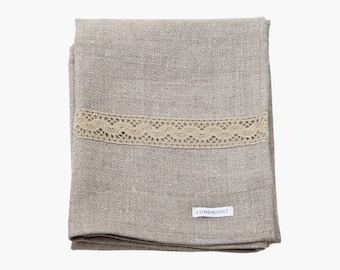 Cupboard tilde high quality linen - towel - cloth - towel - nature - with lace detail