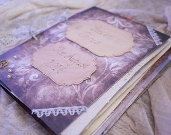 Personalised Steampunk Wedding guestbook with vintage shabby chic theme. Extra large personalized steam punk guest book, engraved pyrography