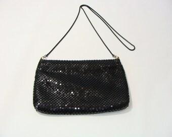 Vintage Black Mesh Handbag With Gold Detail