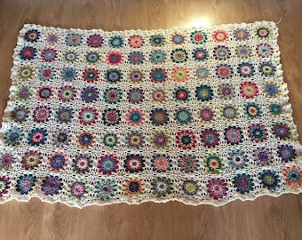 Colourful flower blanket / throw / afghan
