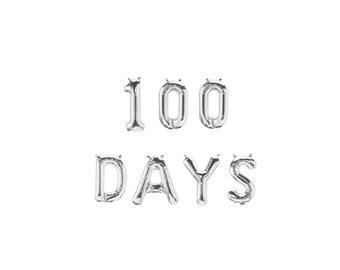 100 Days Letter Balloons,100 Days Silver Balloons,100 Days Celebration,100 Days Korean Celebration,100 Days Balloons,Baek-il Celebration